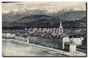 Old Postcard Grenoble General view and the Chaine des Alpes