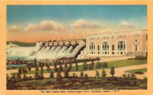 Lewiston, Maine, ME, Gulf Island Dam, Androscoggin River, Vintage Postcard c2632