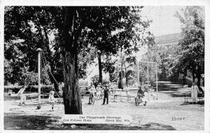 Green Bay Wisconsin~Odd Fellows Home Playground~Witches Hat~1940s B&W PC