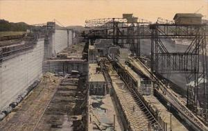 Panama The Panama Canal Series Of Large Cranes At Work In Miraflores Locks