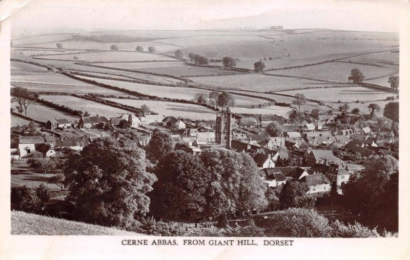 Vintage Postcard CERNE ABBAS from Giant Hill, Dorset #C