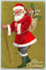 Christmas Santa~Red Suit Blue Pants~Walking Stick~Bayonet & Clown Toys~Gold Back