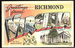 USA Postcard Large Letter Greetings From Richmond Virginia CDS 1953