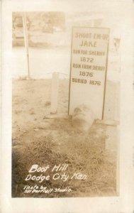 RPPC DODGE CITY KS Boot Hill Cemetery Shoot-Em-Up Jake Grave Postcard ca 1930s