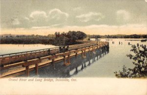 Dunnville Ont. Canada view of Grand River & Long Bridge antique pc ZD549750