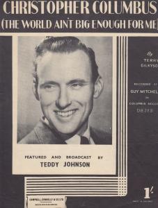 Christopher Columbus Teddy Johnson Mispressed 1950s Sheet Music