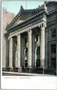 Chicago, Illinois Postcard National Bank Building / Street View 1908 IA Cancel