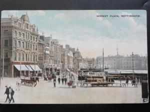 Nottingham: The Market Place, Old Postcard showing Shops and The Council House