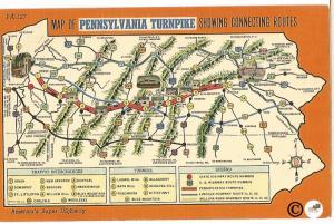 Pennsylvania Turnpike Map Standard Oil Company Vintage Postcard Linen Postcard