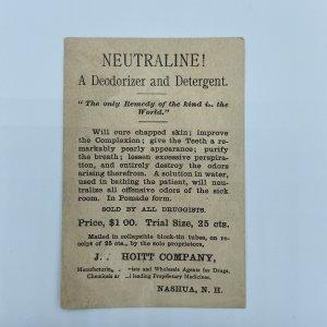 Neutraline Hoitt Company Nashua New Hampshire NH James Blaine Trade Card
