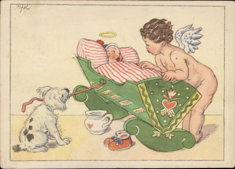 Comic baby angel cupid dog swing artist signed