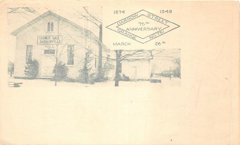 F27/ Darrowville Ohio Postcard 1949 Grange Building 75th Anniversary