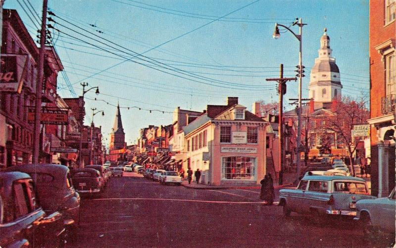 ANNAPOLIS MARYLAND~MAIN STREET & STATE HOUSE POSTCARD 1950s