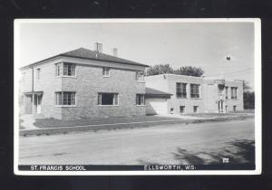 RPPC ELLSWORTH WISCONSIN ST. FRANCIS SCHOOL VINTAGE REAL PHOTO POSTCARD