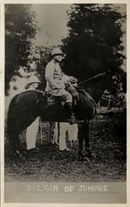 malay malaysia, JOHOR JOHORE, Sultan Ibrahim on Horse, Uniform (1930s) RPPC