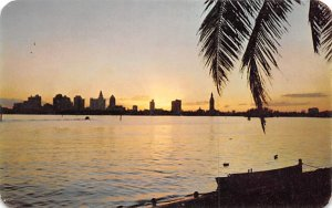 Sunset at Miami, FL, USA Florida Postcard