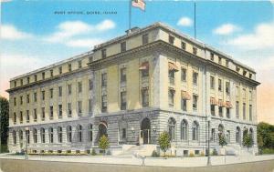 Boise Idaho~Post Office with Flag~Arch Windows 1940s Postcard