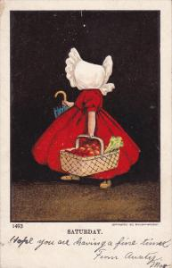 Saturday, Girl wearing a white bonnet holding basket full of fruits, PU-1905