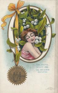 OKLAHOMA, 1900-10s; State Girl, Seal and Flower, Mistletoe