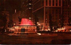 Michigan Detroit Grand Circus Park Fountain At Night