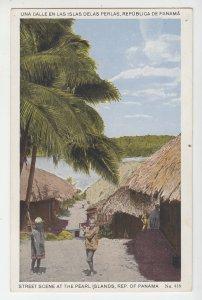P2238 old postcard village people street scene at pearl islands panama,