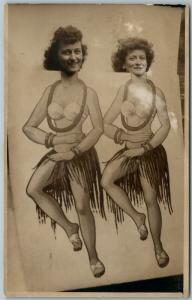 DANCING WOMEN PHOTOMONTAGE ANTIQUE REAL PHOTO POSTCARD RPPC collage montage