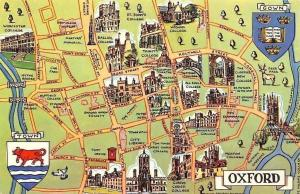 Oxford Map, Town Coat of Arms, Broad Street, Trinity College, Wadham College