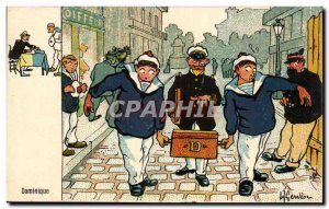Sailor-Fantasy-Humor-Bateau Dominique -Carte Postale Ancienne Illustrator Ger...