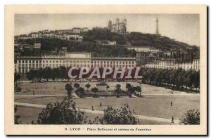Old Postcard Lyon Bellecour Square and hill Fourviere