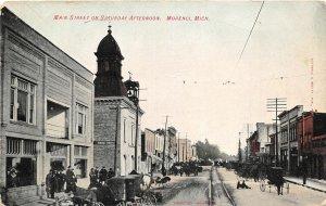 H75/ Morenci Michigan Postcard c1910 Main St Saturday Stores Wagons 81