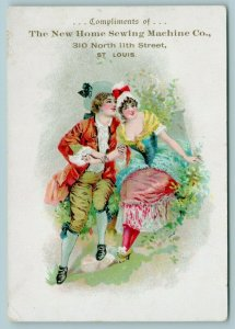 St Louis MO~New Home Sewing Machine Co~Elegant Couple~Victorian Trade Card~1890s
