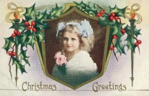 Christmas Whitney Made Vintage Postcard Embossed Gilt Holly Frame Pretty Girl