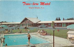 Maple Shade New Jersey~Trav-lers Motel Swimming Pool~Boy on Diving Board~1960s