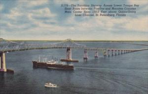 Sunshine Skyway Bridge Over Lower Tampa Bay Florida Curteich