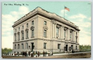 Wheeling West Virginia~United States Post Office~Crowd on Street Corner~c1910