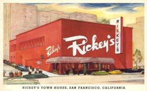 RICKEY'S TOWN HOUSE San Francisco, CA Restaurant Vintage Postcard ca 1940s