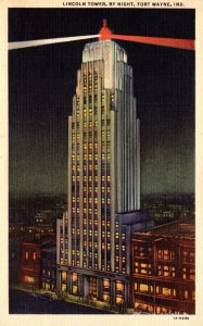 Indiana Fort Wayne Lincoln Tower By Night Curteich