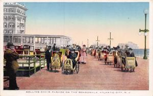 Rolling Chairs on Boardwalk, Atlantic City, New Jersey, Early Postcard, Unused