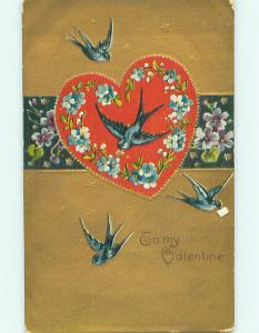Unused Divided-Back valentine PRETTY BLUE BIRDS ON HEART r4008