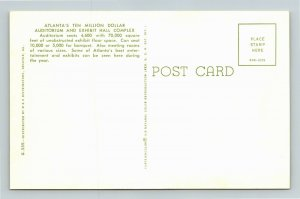 Atlanta GA- Georgia, Atlanta Civic Center, Advertising, Vintage Chrome Postcard