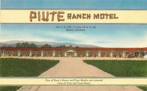 Colorpicture 1940s Piute Ranch Motel roadside Reno Nevada Postcard linen 3343