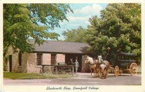 Dearborn Michigan~Greenfield Village Blacksmith Shop~Horse and Carriage 1962 PC