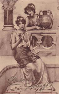 TUCK , PU-1904 ; Raphotype ,2 Women , Christmas Greetings