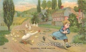 Fleeing from justice Children, Child, Postcard Post Card  Fleeing from justice