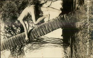 Hawaii HI Native Boy Climbs Cocoanut Tree c1920s-30s Real Photo Postcard xst