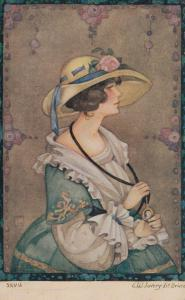 ART DECO ; Profile of Female wearing gown and hat, PU-1912