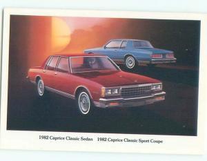 1982 Postcard Ad CHEVROLET CAPRICE CLASSIC SEDAN & SPORT COUPE CARS AC6180-19