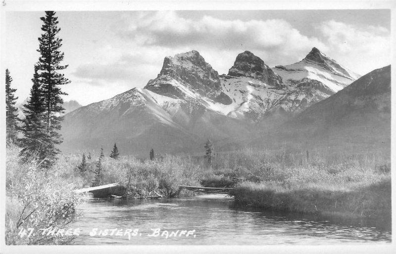 RPPC BANFF AB Three Sisters Mountains Canada Alberta Vintage Postcard ca 1930s