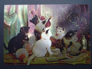 Pussy Cat KITTENS ON THE VANITY TABLE c1980's by F J Warren DUFEX FOIL Postcard
