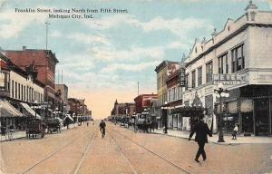 Michigan City Indiana Franklin Street Looking North Vintage Postcard JD933155